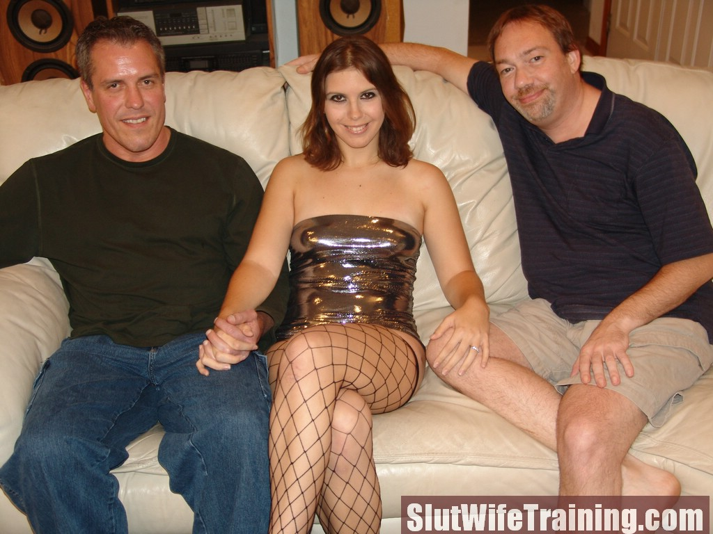 Slut wife in fishnet stockings gets shared by her husband and horny stranger