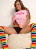 juicy-titted-girl-sophie-in-black-panties-takes-off-her-pink-t-shirt-and-flashes-her-ass