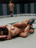 Four naked aggressive lesbians make the audience happy with their wrestling show