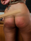 Obedient brunette gets whipped, tortured and humiliated on teacher's desk