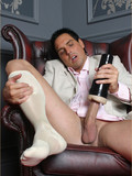 Horny Italian guy Marchello shows off in his chic light suit then pumps his pole