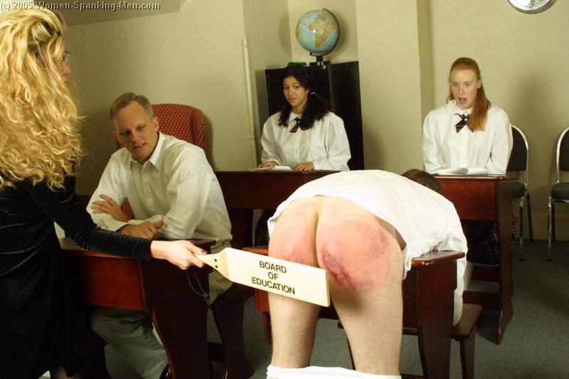 Mother spanks front female teachers